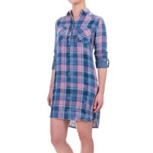Kenneth Cole Popover Plaid Shirt Dress XS NEW